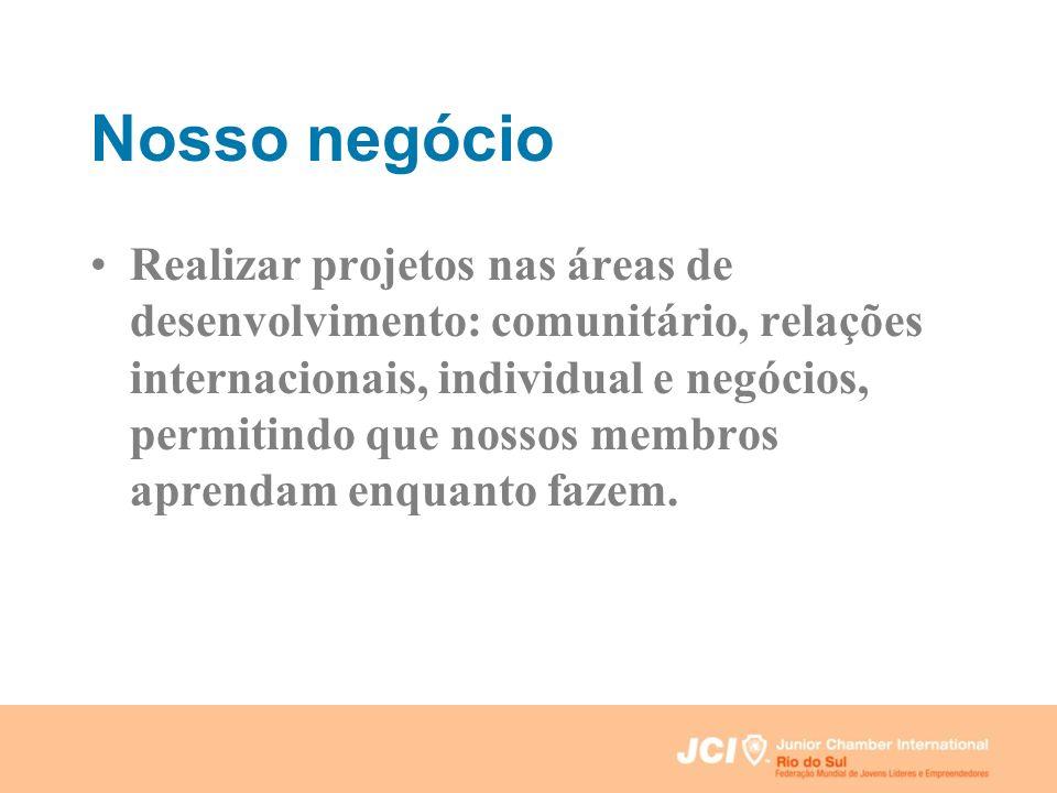 Nosso negócio Realizar projetos nas áreas de desenvolvimento: comunitário, relações internacionais, individual e negócios, permitindo que nossos membr
