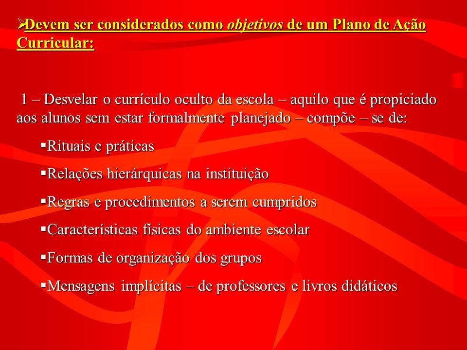 Devem ser considerados como objetivos de um Plano de Ação Curricular: Devem ser considerados como objetivos de um Plano de Ação Curricular: 1 – Desvel