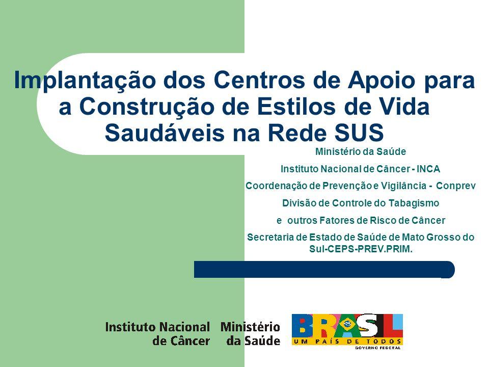 Implantação dos Centros de Apoio para a Construção de Estilos de Vida Saudáveis na Rede SUS Ministério da Saúde Instituto Nacional de Câncer - INCA Co
