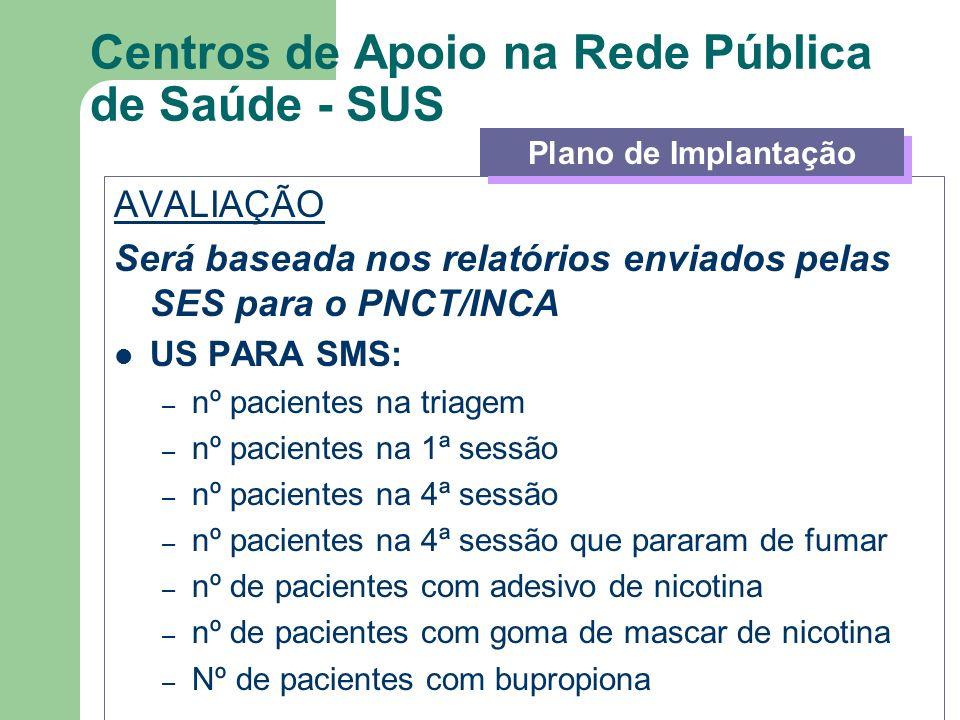 Centros de Apoio na Rede Pública de Saúde - SUS AVALIAÇÃO Será baseada nos relatórios enviados pelas SES para o PNCT/INCA US PARA SMS: – nº pacientes