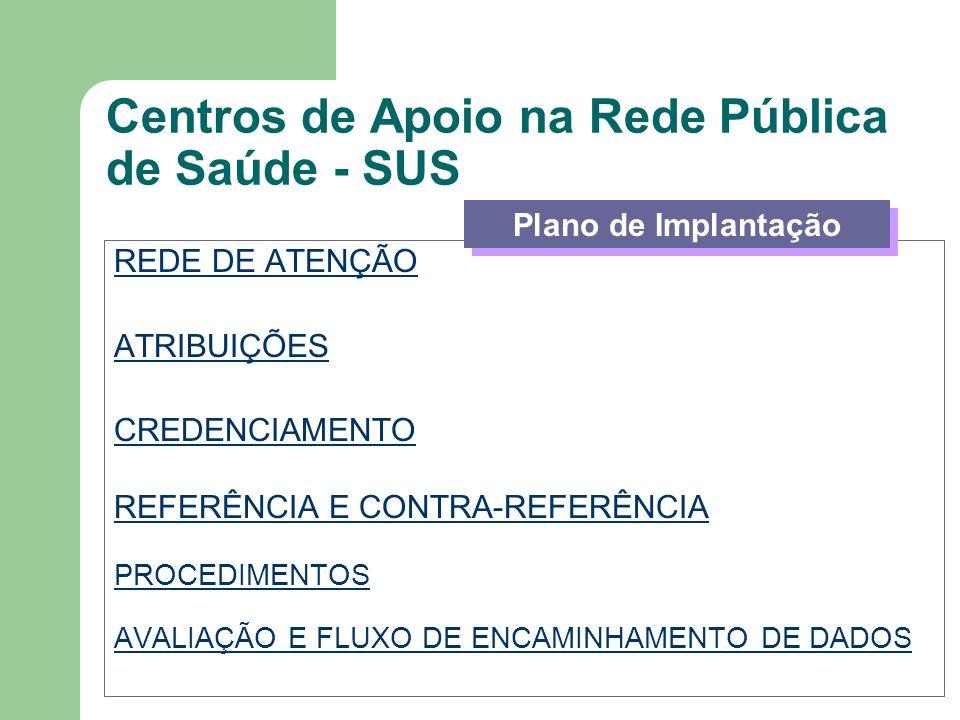Centros de Apoio na Rede Pública de Saúde - SUS REDE DE ATENÇÃO ATRIBUIÇÕES CREDENCIAMENTO REFERÊNCIA E CONTRA-REFERÊNCIA PROCEDIMENTOS AVALIAÇÃO E FL