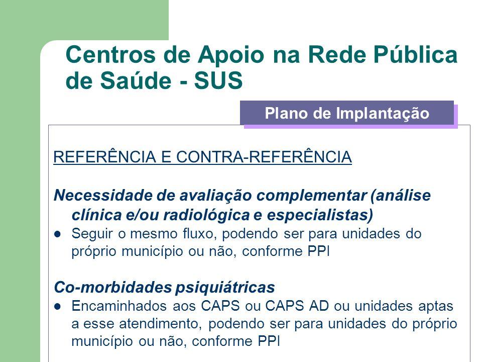 Centros de Apoio na Rede Pública de Saúde - SUS REFERÊNCIA E CONTRA-REFERÊNCIA Necessidade de avaliação complementar (análise clínica e/ou radiológica