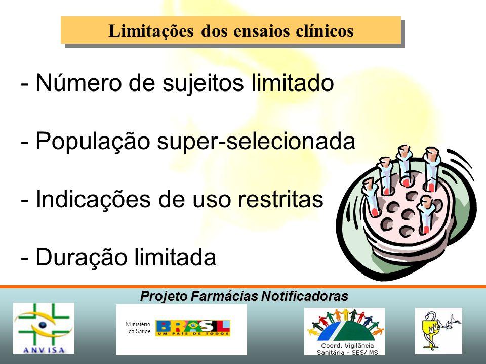Projeto Farmácias Notificadoras Ministério da Saúde Tempo provável para detecção de RAM Aumento probabilístico de detecção reações adversas Avaliação