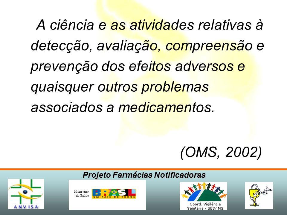 Projeto Farmácias Notificadoras Ministério da Saúde O que é Farmacovigilância?