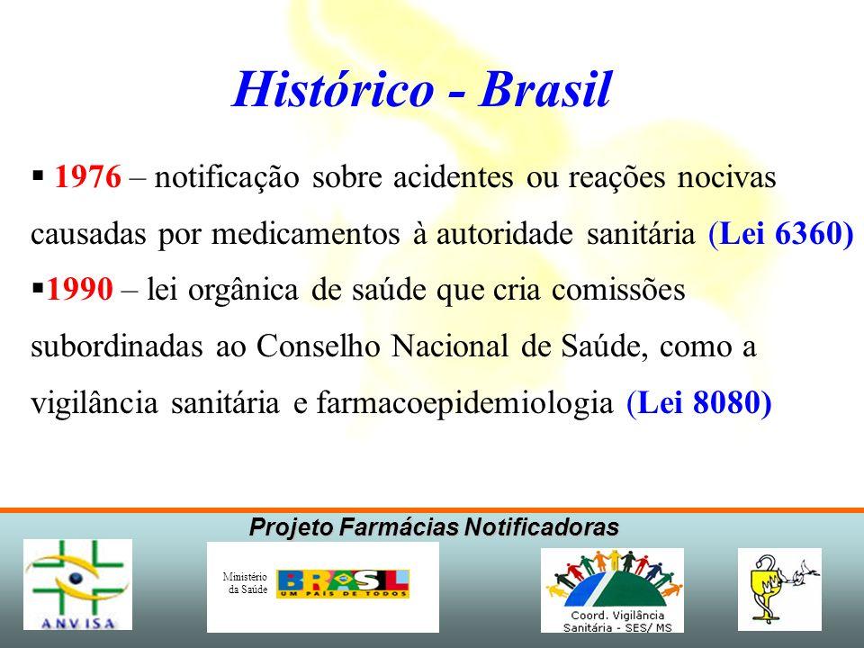 Projeto Farmácias Notificadoras Ministério da Saúde Histórico - Mundo 1959 / 61– Epidemia de focomelia por Talidomida (4.000 casos com 15% de mortos)