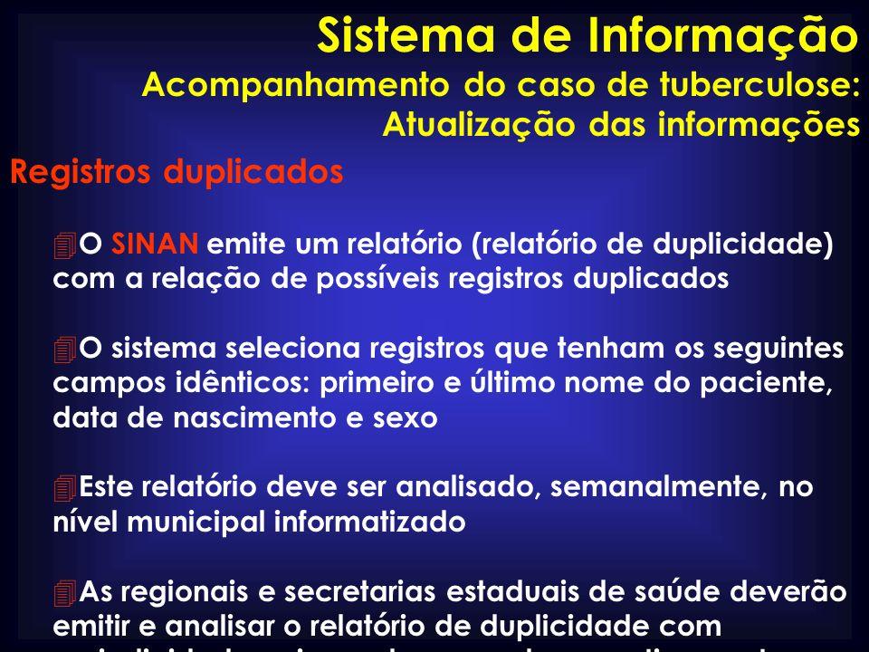 Registros duplicados 4 O SINAN emite um relatório (relatório de duplicidade) com a relação de possíveis registros duplicados 4 O sistema seleciona reg