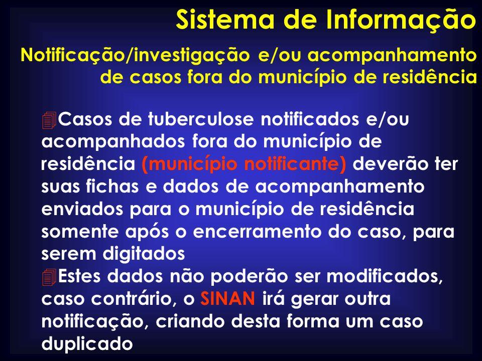 Notificação/investigação e/ou acompanhamento de casos fora do município de residência 4 Casos de tuberculose notificados e/ou acompanhados fora do mun