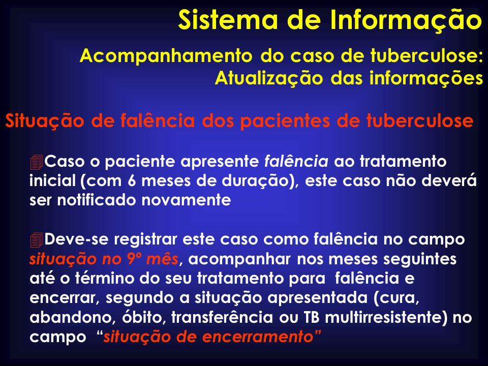 Situação de falência dos pacientes de tuberculose 4 Caso o paciente apresente falência ao tratamento inicial (com 6 meses de duração), este caso não d