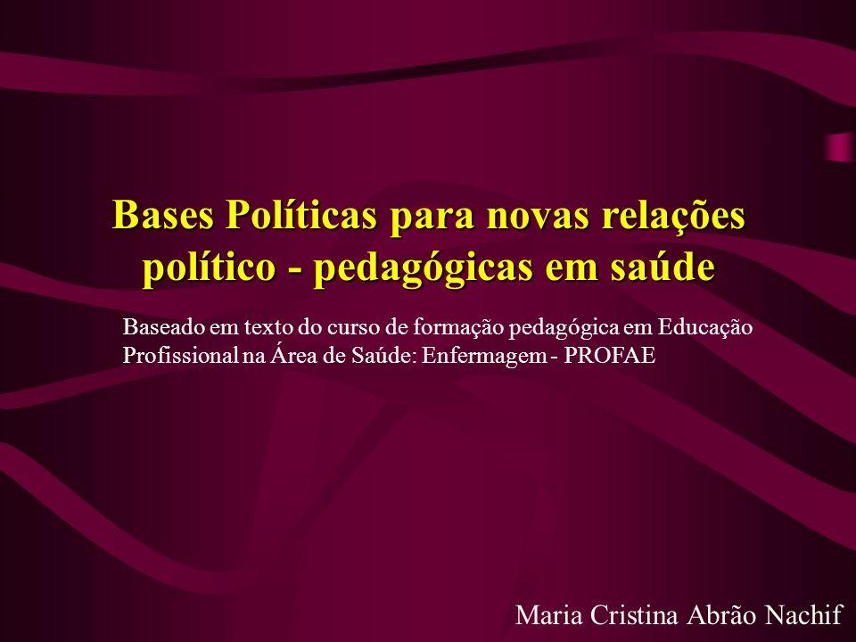 Bases Políticas para novas relações político - pedagógicas em saúde Maria Cristina Abrão Nachif Baseado em texto do curso de formação pedagógica em Ed