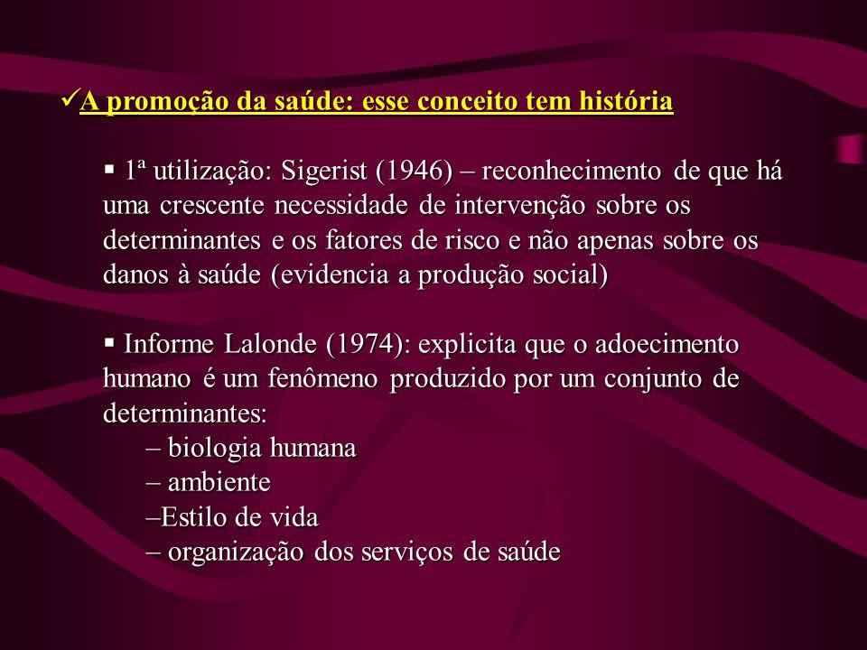 A promoção da saúde: esse conceito tem história A promoção da saúde: esse conceito tem história 1ª utilização: Sigerist (1946) – reconhecimento de que