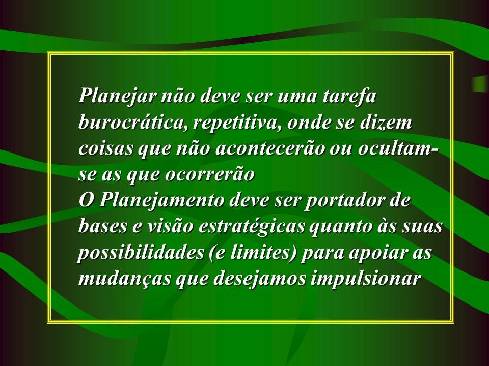 Planejar não deve ser uma tarefa burocrática, repetitiva, onde se dizem coisas que não acontecerão ou ocultam- se as que ocorrerão O Planejamento deve