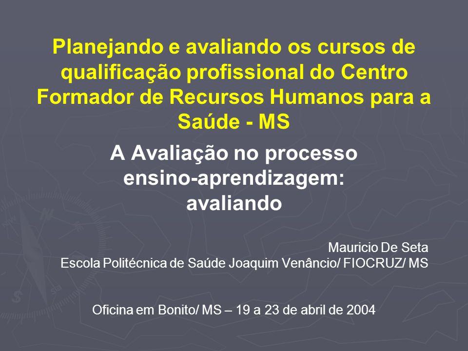 A Avaliação no processo ensino-aprendizagem: avaliando Mauricio De Seta Escola Politécnica de Saúde Joaquim Venâncio/ FIOCRUZ/ MS Oficina em Bonito/ M