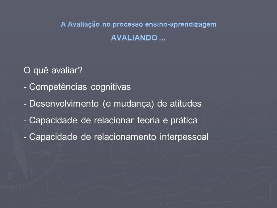 A Avaliação no processo ensino-aprendizagem AVALIANDO... O quê avaliar? - Competências cognitivas - Desenvolvimento (e mudança) de atitudes - Capacida