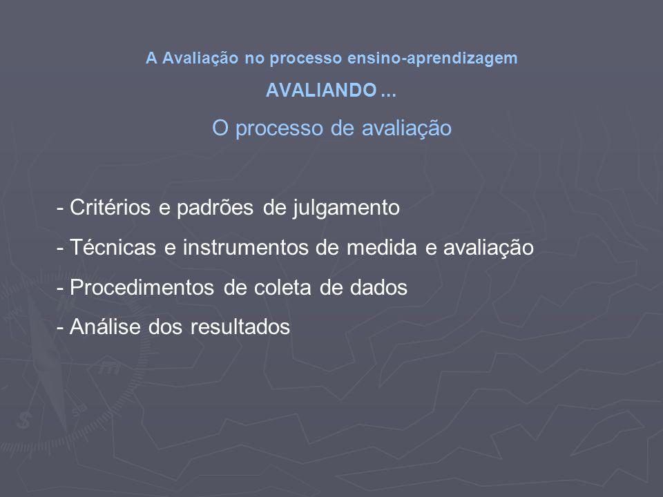 A Avaliação no processo ensino-aprendizagem AVALIANDO... O processo de avaliação - Critérios e padrões de julgamento - Técnicas e instrumentos de medi