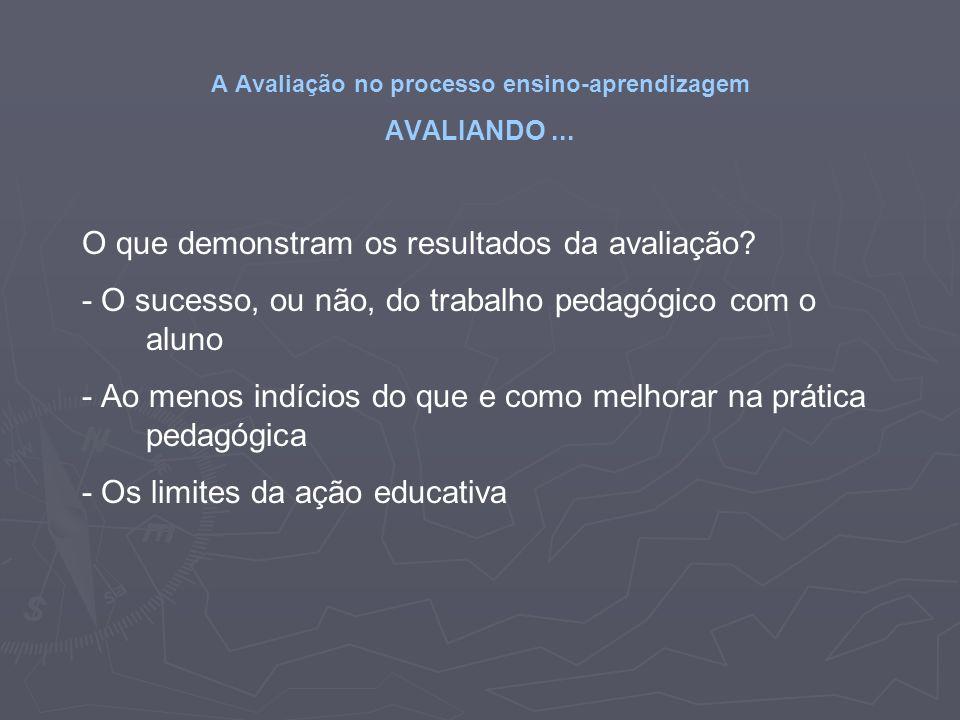 A Avaliação no processo ensino-aprendizagem AVALIANDO... O que demonstram os resultados da avaliação? - O sucesso, ou não, do trabalho pedagógico com