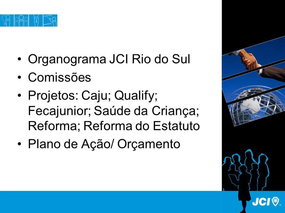 Organograma JCI Rio do Sul Comissões Projetos: Caju; Qualify; Fecajunior; Saúde da Criança; Reforma; Reforma do Estatuto Plano de Ação/ Orçamento