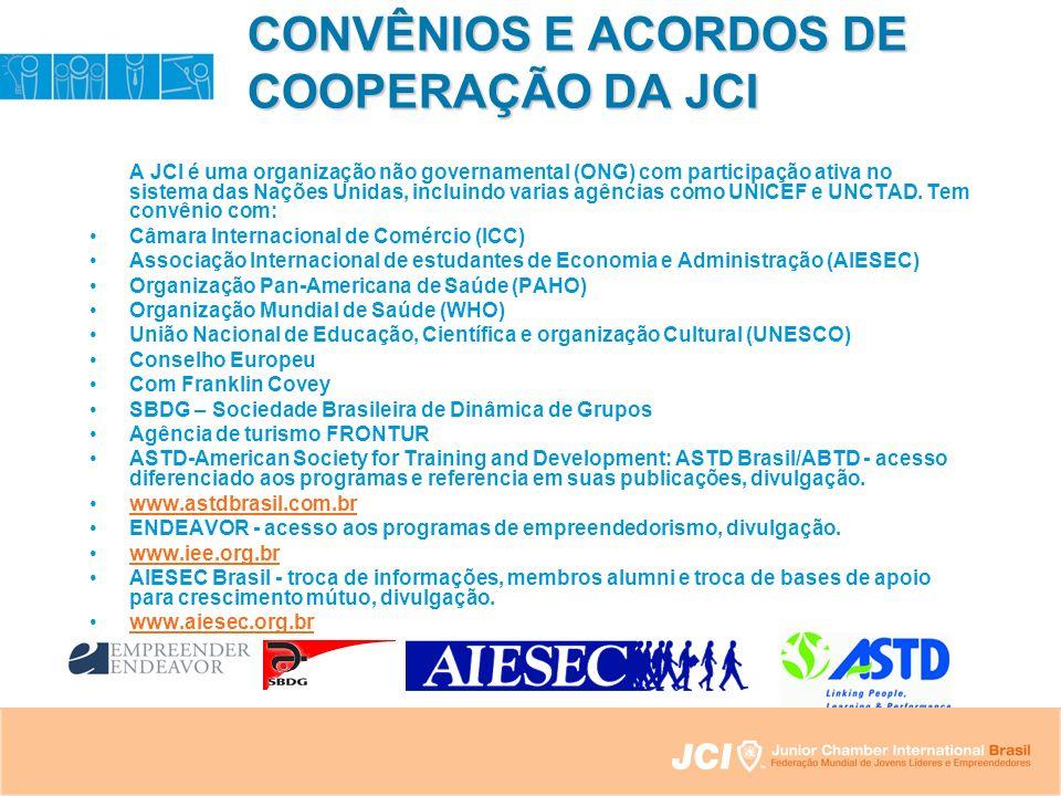 CONVÊNIOS E ACORDOS DE COOPERAÇÃO DA JCI A JCI é uma organização não governamental (ONG) com participação ativa no sistema das Nações Unidas, incluindo varias agências como UNICEF e UNCTAD.