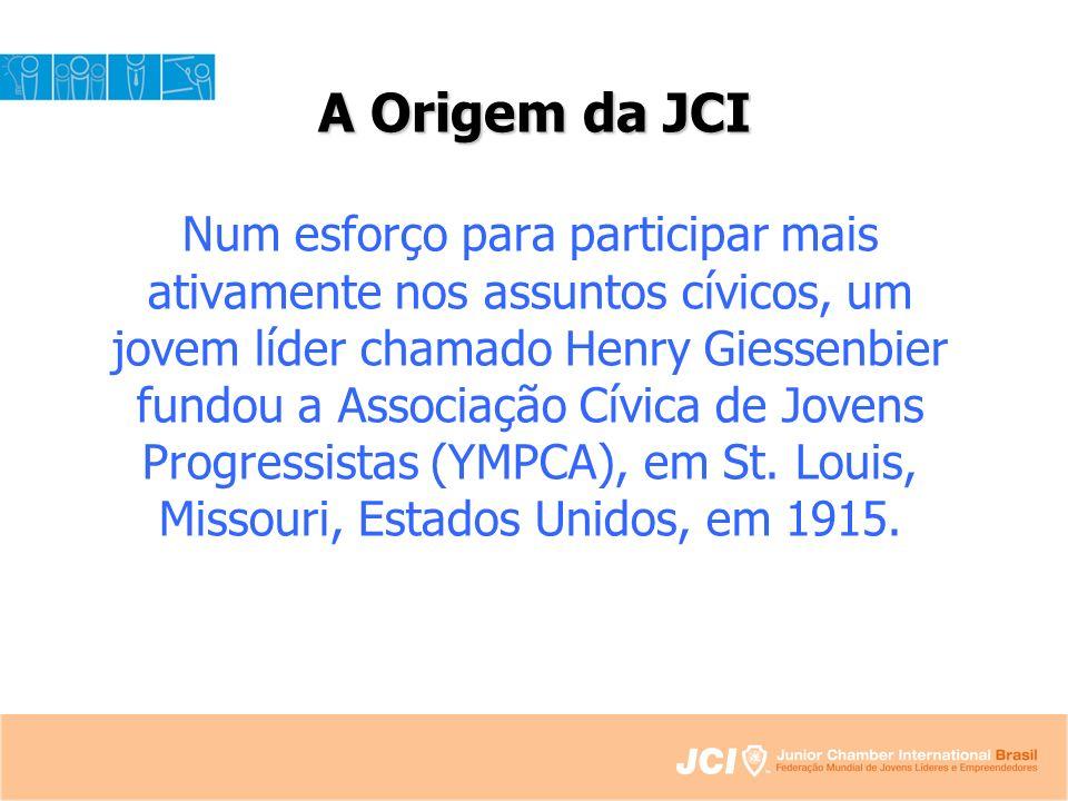 A Origem da JCI Num esforço para participar mais ativamente nos assuntos cívicos, um jovem líder chamado Henry Giessenbier fundou a Associação Cívica de Jovens Progressistas (YMPCA), em St.