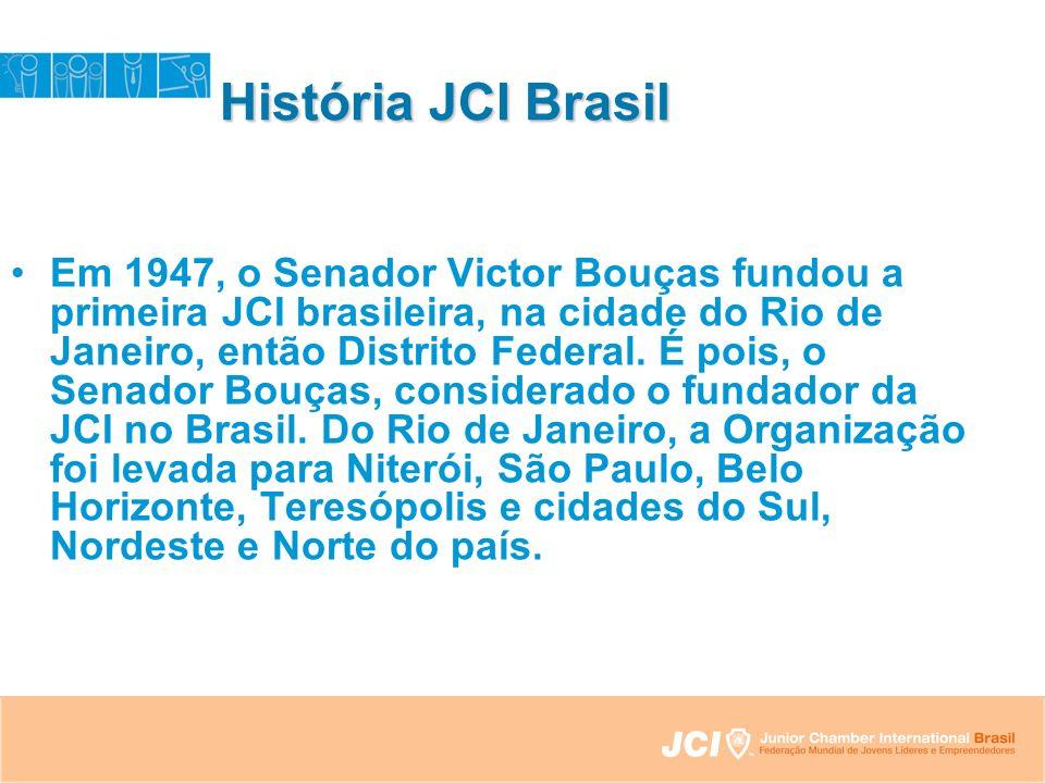 História JCI Brasil Em 1947, o Senador Victor Bouças fundou a primeira JCI brasileira, na cidade do Rio de Janeiro, então Distrito Federal.