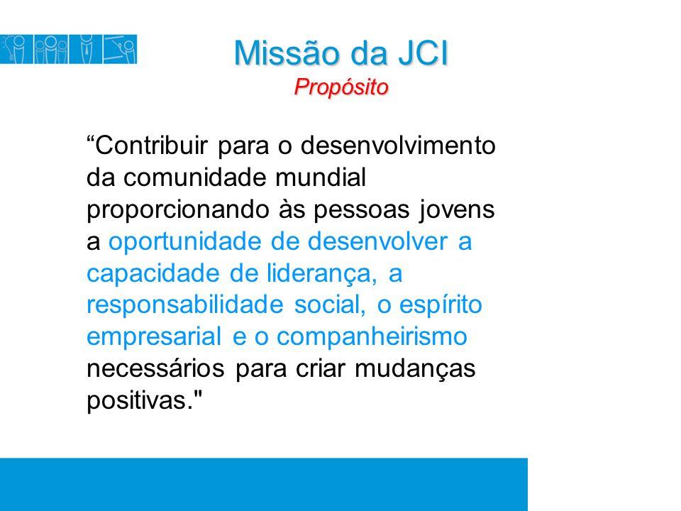 Missão da JCI Propósito Contribuir para o desenvolvimento da comunidade mundial proporcionando às pessoas jovens a oportunidade de desenvolver a capacidade de liderança, a responsabilidade social, o espírito empresarial e o companheirismo necessários para criar mudanças positivas.