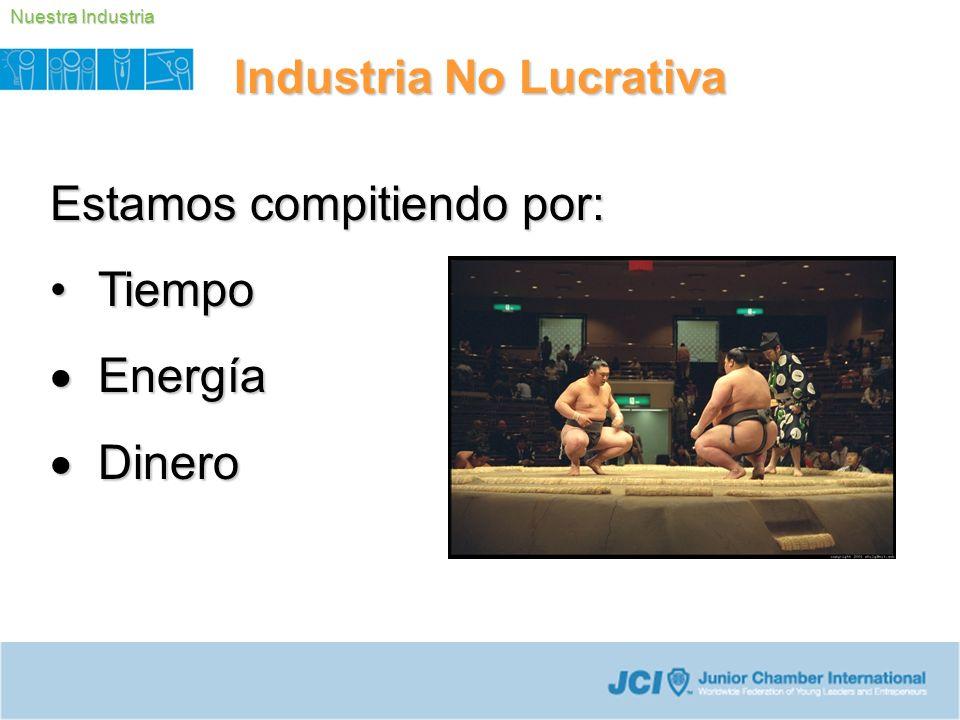 Estamos compitiendo por: TiempoTiempo Energía Energía Dinero Dinero Industria No Lucrativa Nuestra Industria