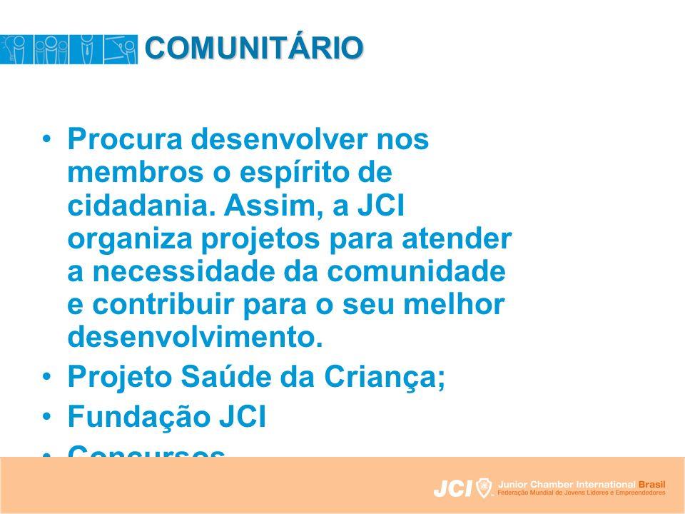 COMUNITÁRIO Procura desenvolver nos membros o espírito de cidadania.