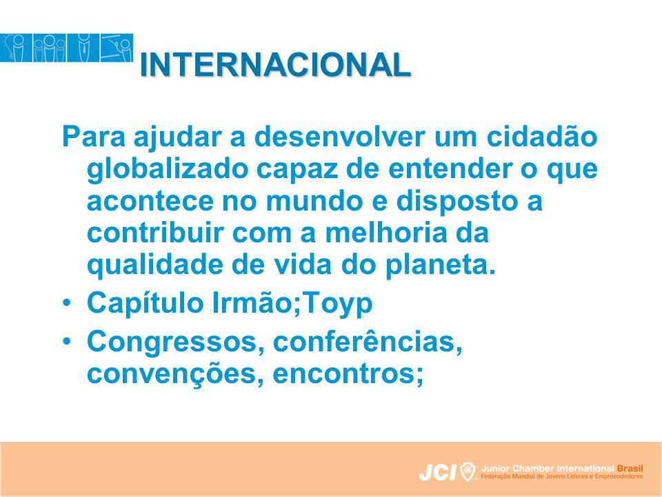 INTERNACIONAL Para ajudar a desenvolver um cidadão globalizado capaz de entender o que acontece no mundo e disposto a contribuir com a melhoria da qualidade de vida do planeta.