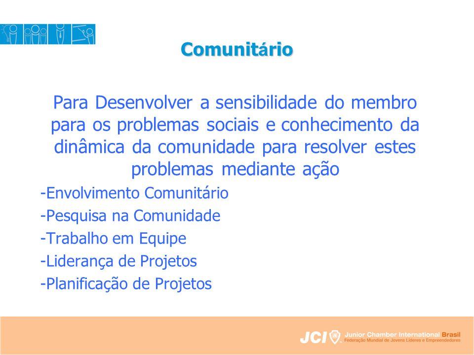 Comunit á rio Para Desenvolver a sensibilidade do membro para os problemas sociais e conhecimento da dinâmica da comunidade para resolver estes problemas mediante ação -Envolvimento Comunitário -Pesquisa na Comunidade -Trabalho em Equipe -Liderança de Projetos -Planificação de Projetos