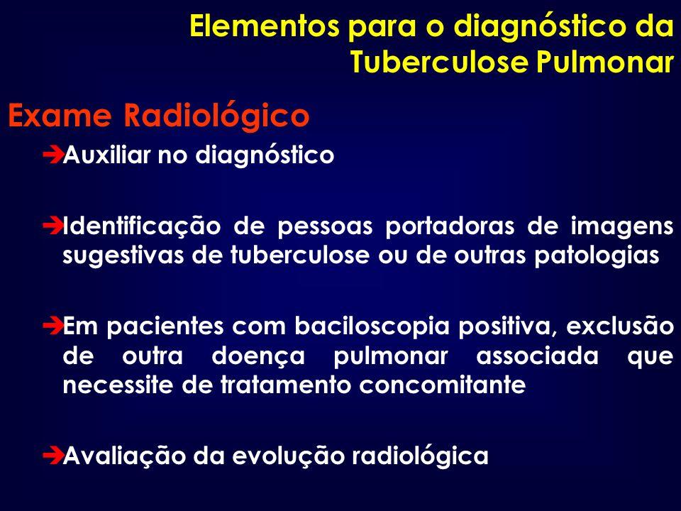 Elementos para o diagnóstico da Tuberculose Pulmonar Exame Radiológico è Auxiliar no diagnóstico è Identificação de pessoas portadoras de imagens suge