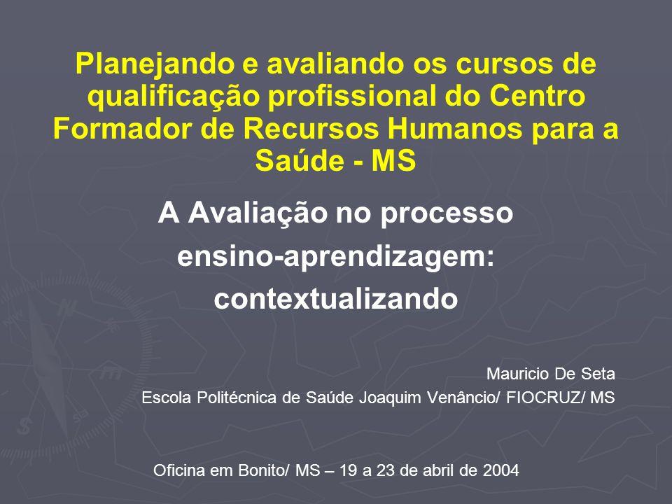 A Avaliação no processo ensino-aprendizagem: contextualizando Mauricio De Seta Escola Politécnica de Saúde Joaquim Venâncio/ FIOCRUZ/ MS Oficina em Bo