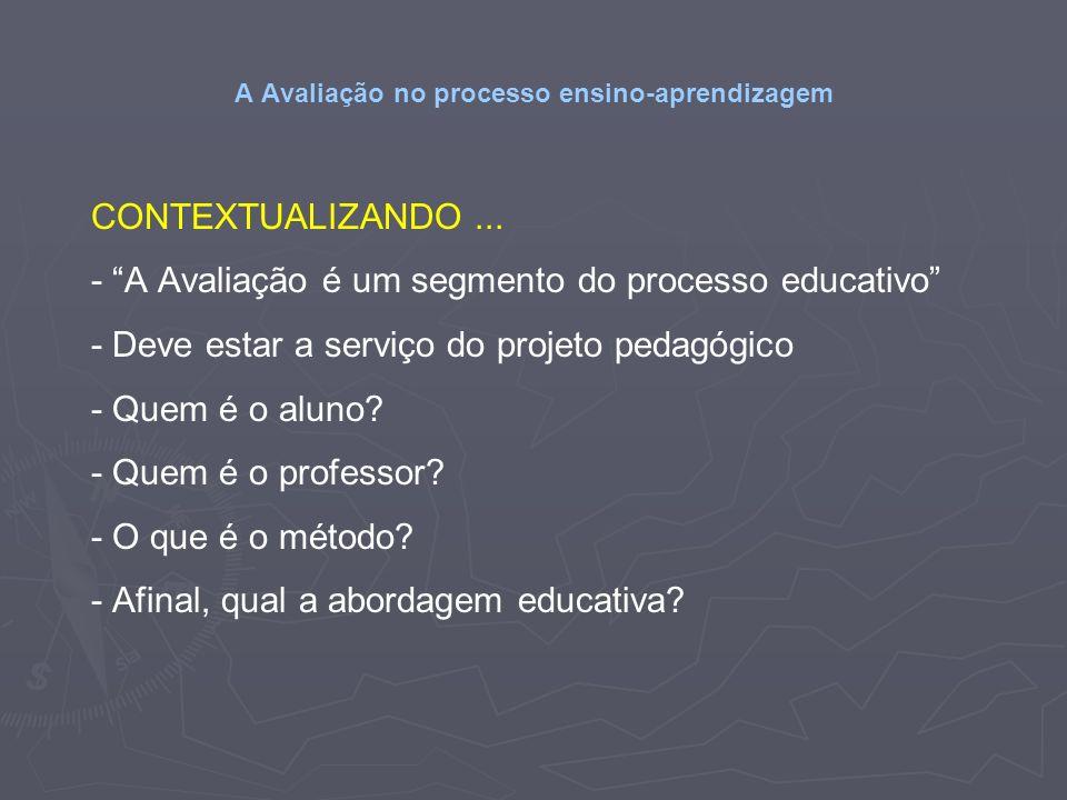 A Avaliação no processo ensino-aprendizagem CONTEXTUALIZANDO... - A Avaliação é um segmento do processo educativo - Deve estar a serviço do projeto pe