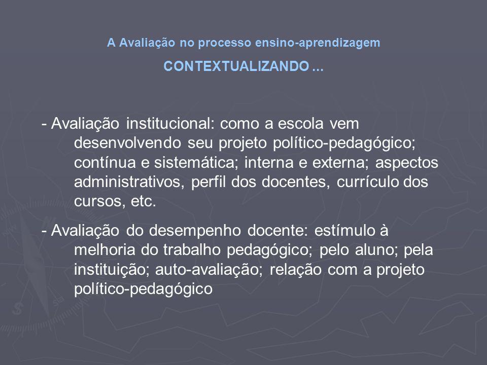 A Avaliação no processo ensino-aprendizagem CONTEXTUALIZANDO... - Avaliação institucional: como a escola vem desenvolvendo seu projeto político-pedagó