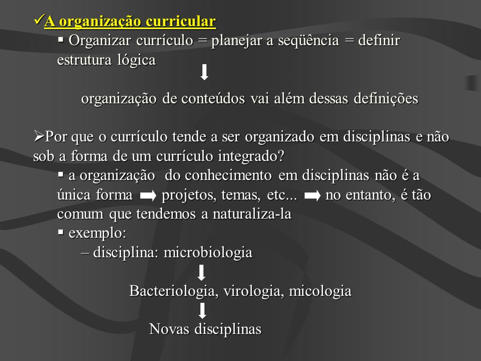A organização curricular A organização curricular Organizar currículo = planejar a seqüência = definir estrutura lógica Organizar currículo = planejar