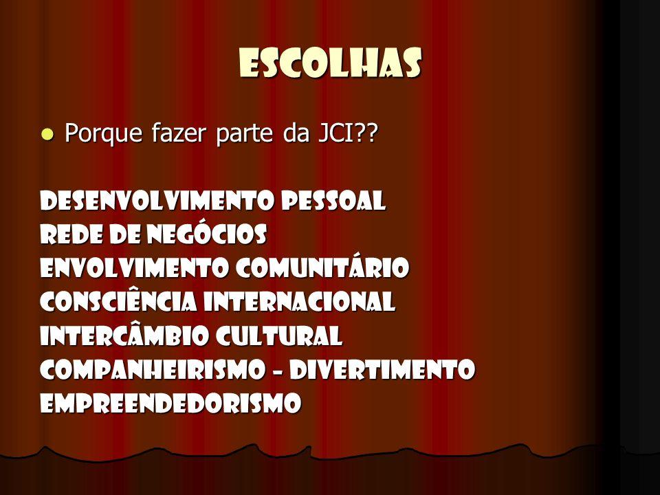 ESCOLHAS Porque fazer parte da JCI?? Porque fazer parte da JCI?? Desenvolvimento Pessoal Rede de Negócios Envolvimento Comunitário Consciência Interna