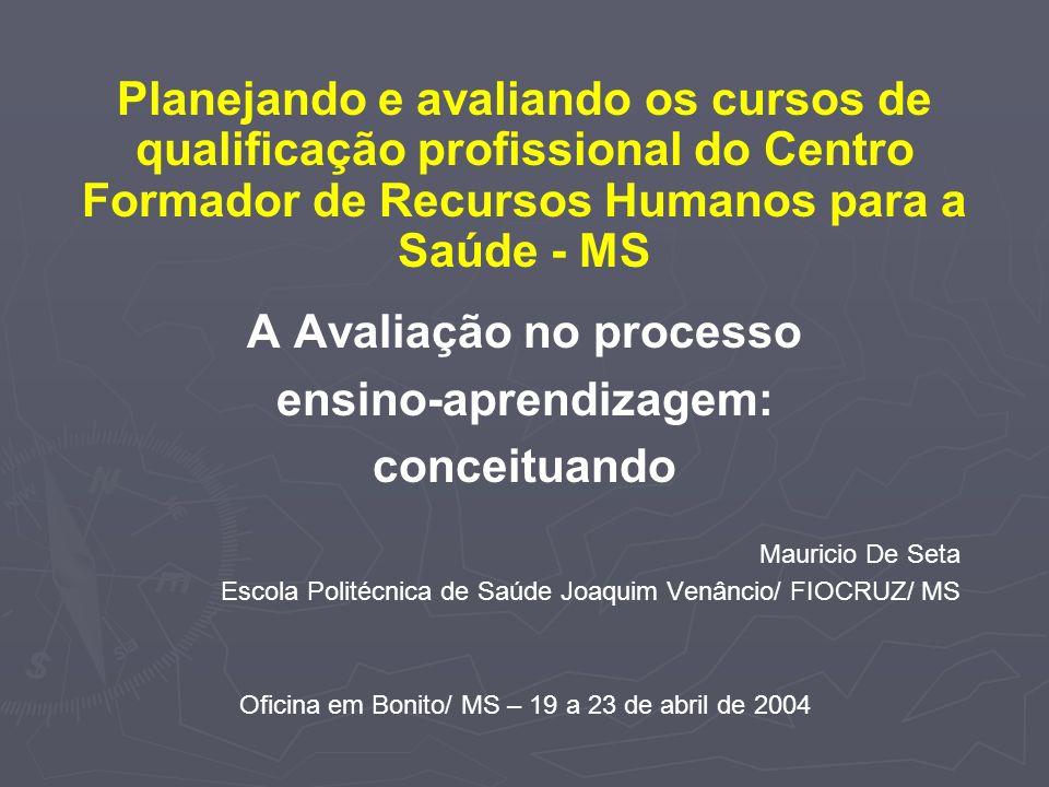 A Avaliação no processo ensino-aprendizagem: conceituando Mauricio De Seta Escola Politécnica de Saúde Joaquim Venâncio/ FIOCRUZ/ MS Oficina em Bonito