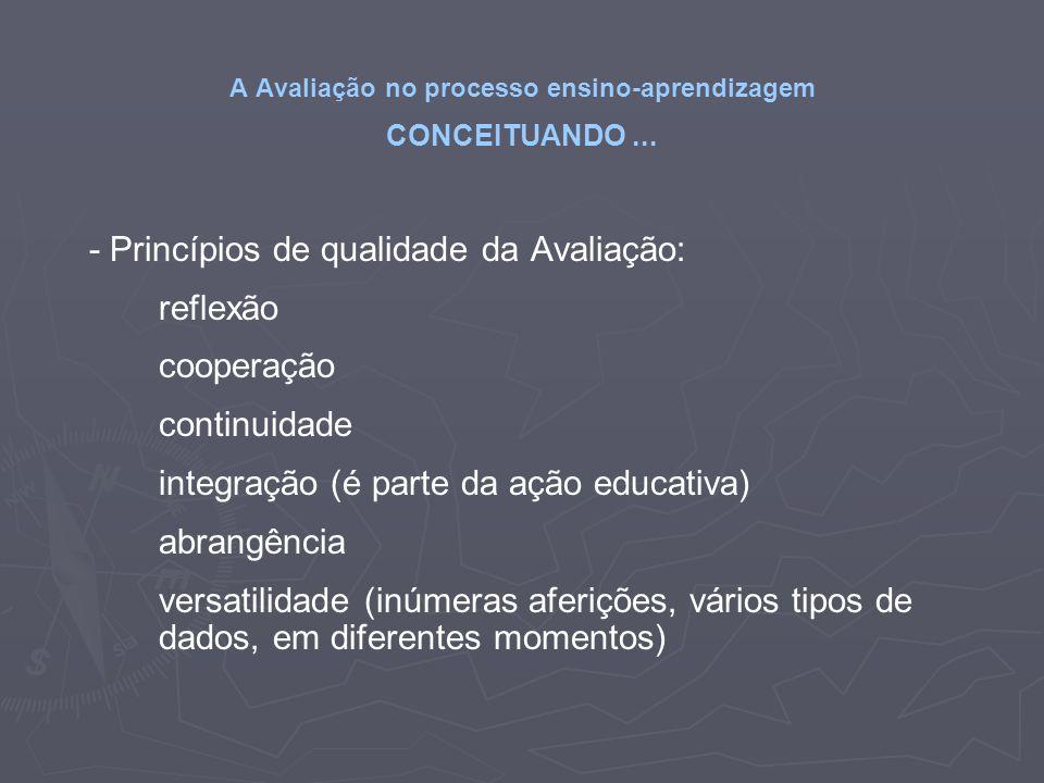 A Avaliação no processo ensino-aprendizagem CONCEITUANDO... - Princípios de qualidade da Avaliação: reflexão cooperação continuidade integração (é par