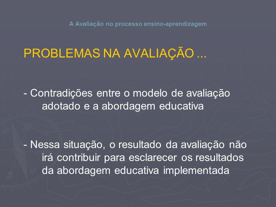A Avaliação no processo ensino-aprendizagem PROBLEMAS NA AVALIAÇÃO...