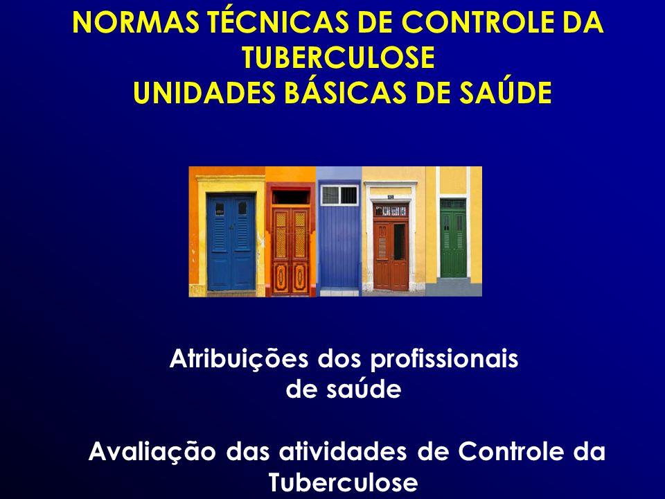 NORMAS TÉCNICAS DE CONTROLE DA TUBERCULOSE UNIDADES BÁSICAS DE SAÚDE Atribuições dos profissionais de saúde Avaliação das atividades de Controle da Tu