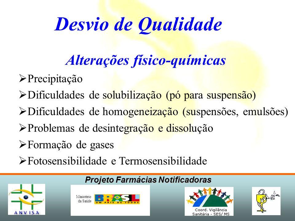 Projeto Farmácias Notificadoras Ministério da Saúde Alterações físico-químicas Precipitação Dificuldades de solubilização (pó para suspensão) Dificuld