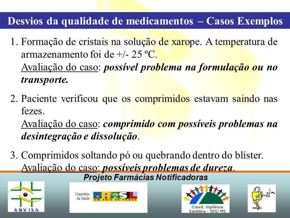 Projeto Farmácias Notificadoras Ministério da Saúde 1.Formação de cristais na solução de xarope. A temperatura de armazenamento foi de +/- 25 ºC. Aval