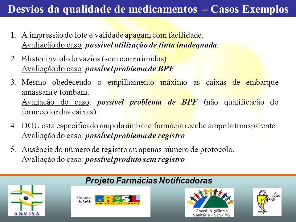 Projeto Farmácias Notificadoras Ministério da Saúde 1.A impressão do lote e validade apagam com facilidade. Avaliação do caso: possível utilização de