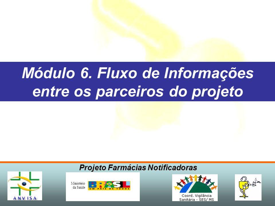 Projeto Farmácias Notificadoras Ministério da Saúde Módulo 6. Fluxo de Informações entre os parceiros do projeto