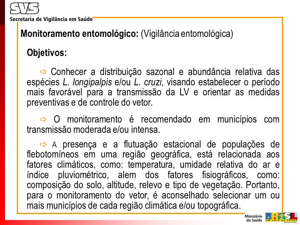 Monitoramento entomológico: (Vigilância entomológica) Objetivos: Conhecer a distribuição sazonal e abundância relativa das espécies L. longipalpis e/o