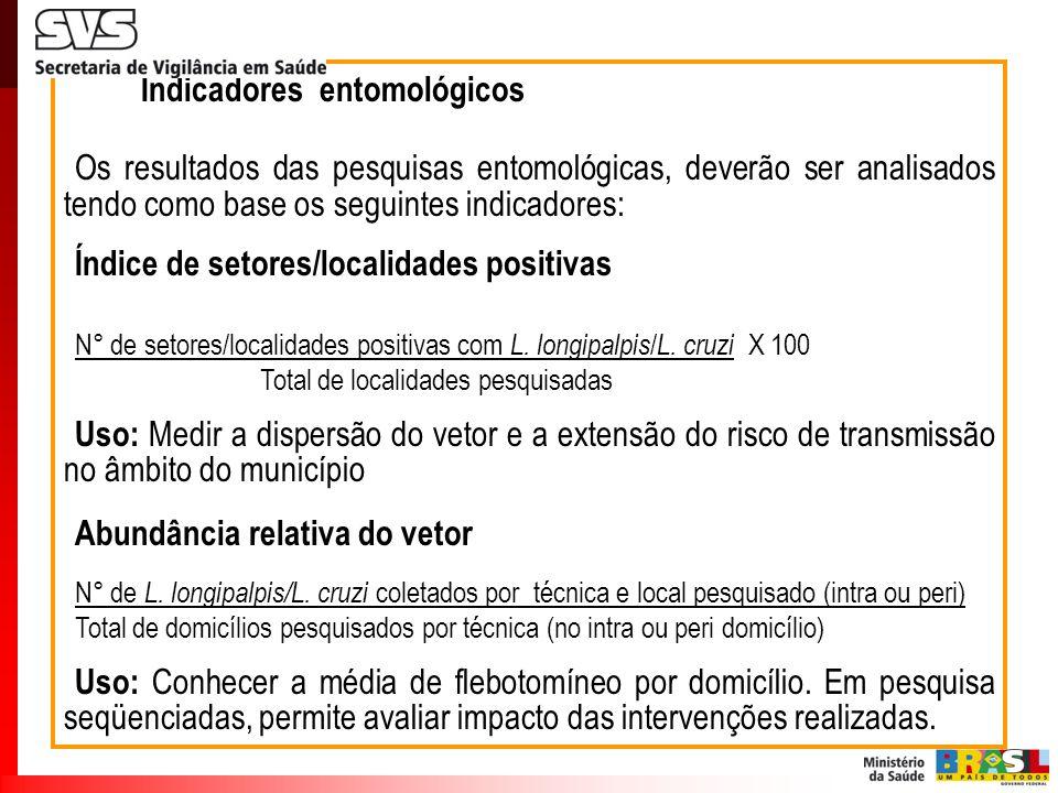 Indicadores entomológicos Os resultados das pesquisas entomológicas, deverão ser analisados tendo como base os seguintes indicadores: Índice de setore