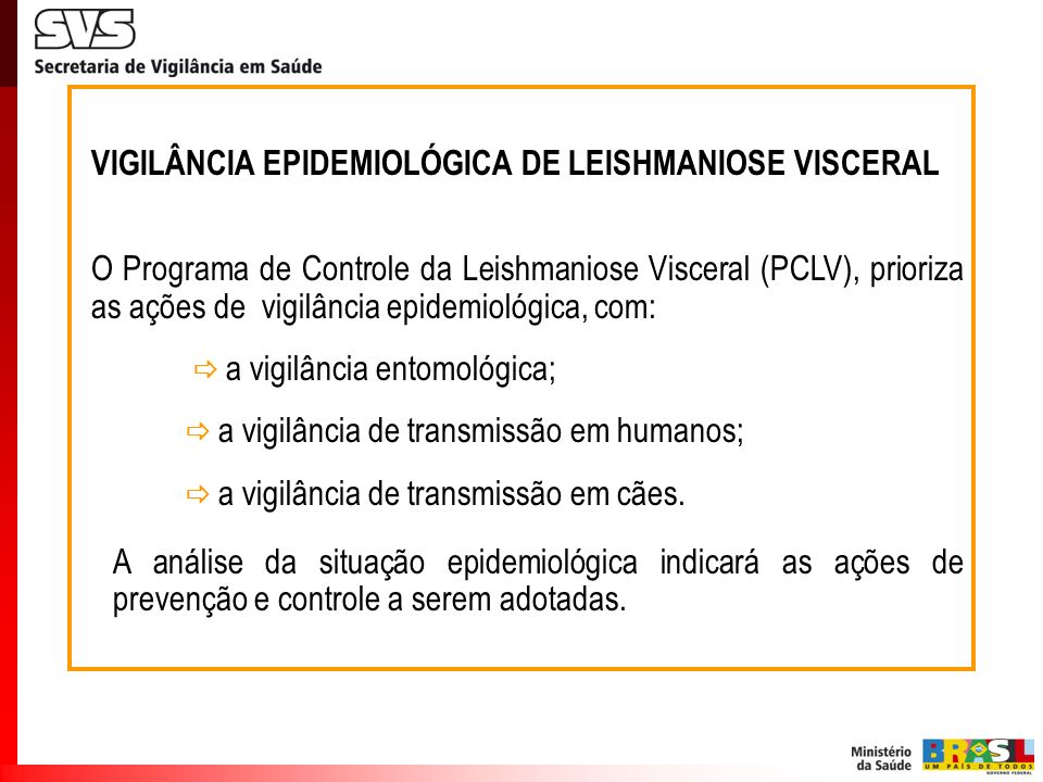 VIGILÂNCIA EPIDEMIOLÓGICA DE LEISHMANIOSE VISCERAL O Programa de Controle da Leishmaniose Visceral (PCLV), prioriza as ações de vigilância epidemiológ