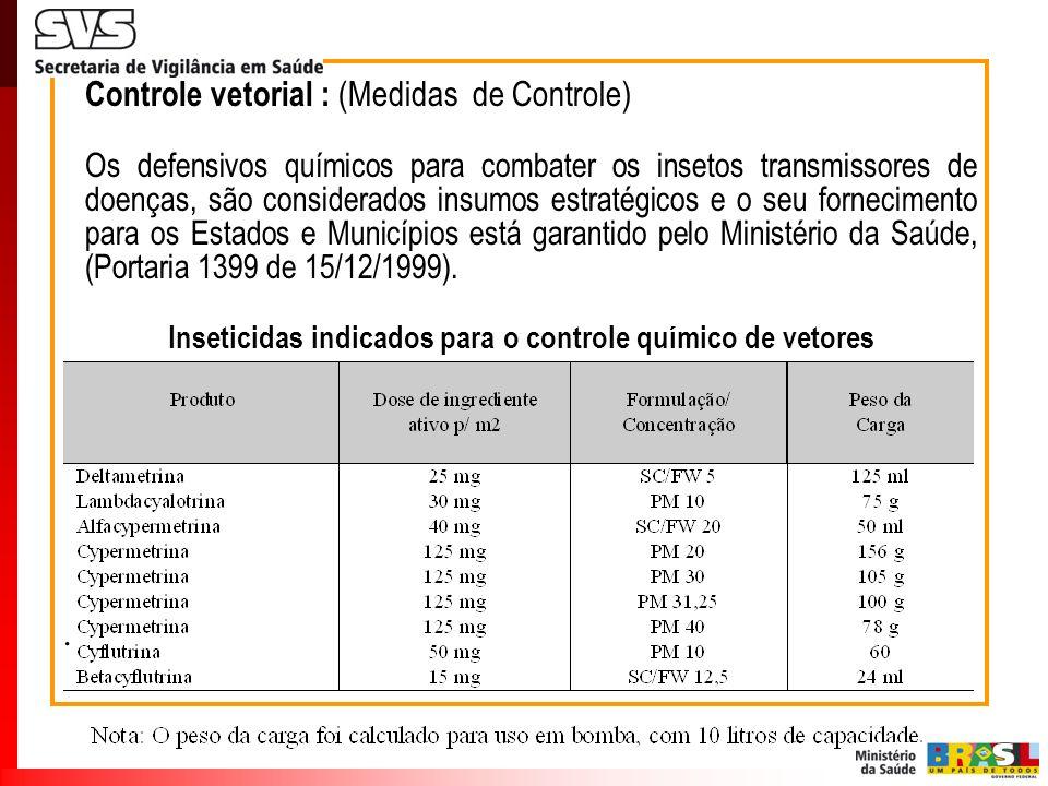 Controle vetorial : (Medidas de Controle) Os defensivos químicos para combater os insetos transmissores de doenças, são considerados insumos estratégi