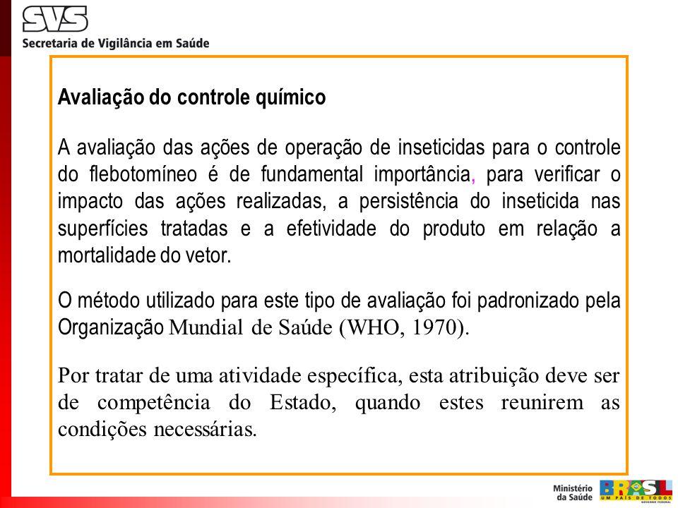 Avaliação do controle químico A avaliação das ações de operação de inseticidas para o controle do flebotomíneo é de fundamental importância, para veri