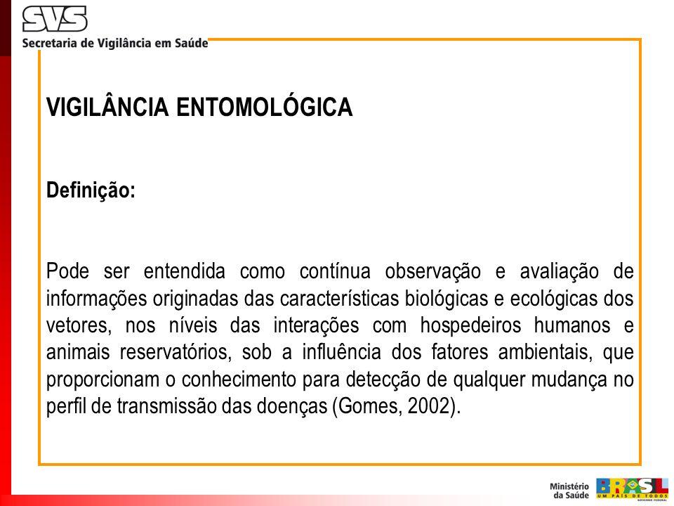 VIGILÂNCIA ENTOMOLÓGICA Definição: Pode ser entendida como contínua observação e avaliação de informações originadas das características biológicas e