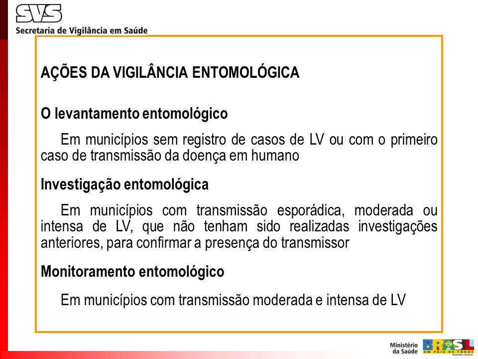AÇÕES DA VIGILÂNCIA ENTOMOLÓGICA O levantamento entomológico Em municípios sem registro de casos de LV ou com o primeiro caso de transmissão da doença