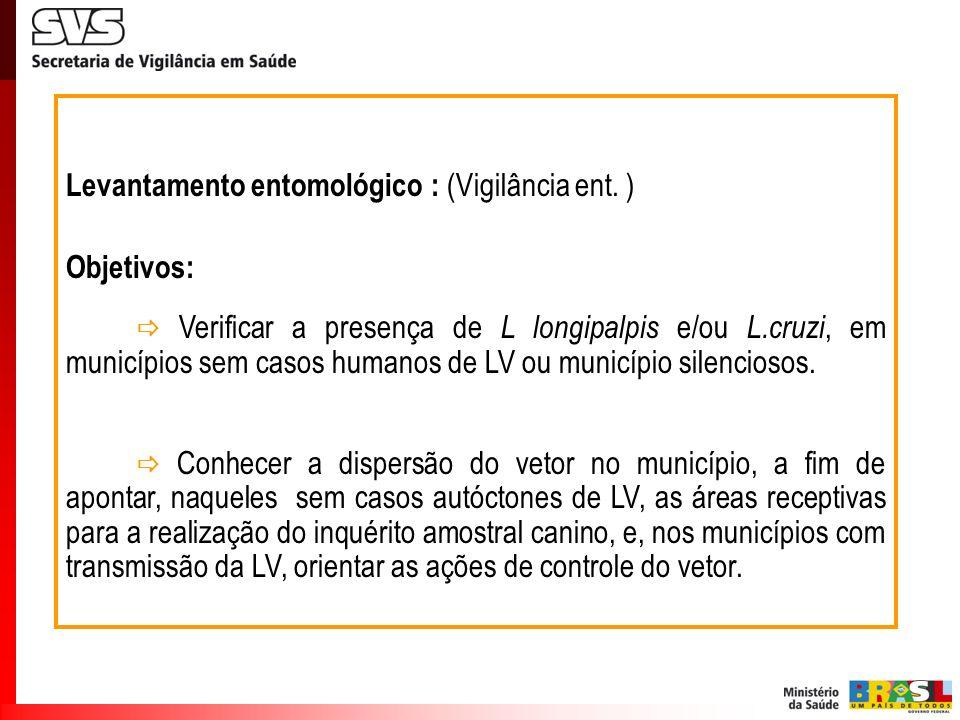 Levantamento entomológico : (Vigilância ent. ) Objetivos: Verificar a presença de L longipalpis e/ou L.cruzi, em municípios sem casos humanos de LV ou